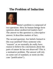 Notes for week 5. The Problem of Induction, JTB, Gettier's counter examples