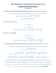 Math 1190 -- Solutions to the Practice Test for Chapter 1