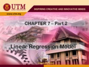 Chapter 7.2 Linear Regression