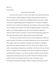 Analysis Paper on Classroom Discussion