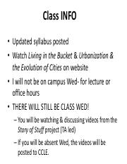 EEB 18 lecture 810 week 3 urbanization Notes