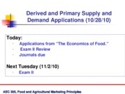 Oct 28 Primary and Derived Supply and Demand Applications