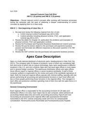 Internal Controls Case Fall 2014 HW IC 1 (5 points) and HW IC 2 (5 points)