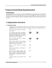 Questionnaireqm valuesap business blueprintbusiness blueprint 24 pages sap fico questionnaire malvernweather Gallery