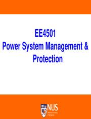 Lecture1 Pdf Ee4501 Power System Management Protection Lecturer Dr Dipti Srinivasan Department Of Electrical Computer Engineering Office E4 06 09 Course Hero