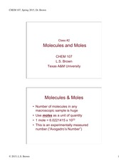 Lecture 2 on Molecules and Moles