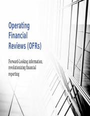 Operating Financial Reviews (OFRs)