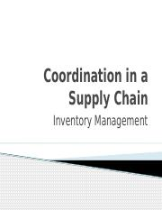 SCM Coordination in a Supply Chain Inventory Revised