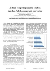 A cloud computing security solution based on fully homomorphic encryption