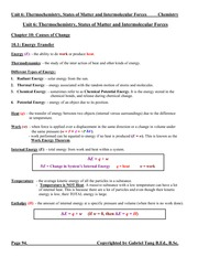 Unit 6 Thermochemistry, States and Intermolecular Forces Notes (answers)