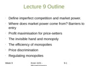 Lecture 9 Outline