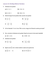 MATH 9 Dividing Rational Numbers Worksheet Solutions