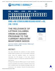 Philippine EJournals_ THE RELEVANCE OF LETRAN CALAMBA HRDM ACADEMIC PROGRAM TO THE CURRENT INDUSTRY