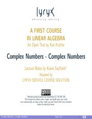 Kuttler-LinearAlgebra-Slides-ComplexNumbers-ComplexNumbers-Presentation