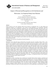 Impact of Reward and Recognition on Job Satisfaction and