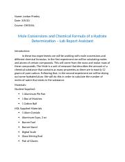 Mole Conversions and Chemical Formula of a Hydrate Determination Lab Report Template.docx
