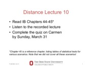 Distance lecture 10