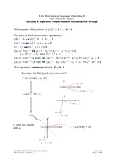 Operator Properties and Mathematical Groups