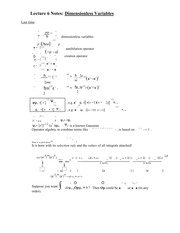 Lecture 6 Notes Dimensionless Variables