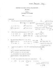 Test Review Unit 5 Answer Key - Unit 5 Rational Functions