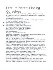 Lecture Notes- Placing Ourselves.docx