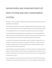 ADVANTAGES AND DISADVANTAGES OF PAYE SYSTEM AND SELF.docx