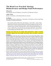 SunWangZheng(2012) The Road Less Traveled Strategy Distinctiveness and Hedge Fund Performance