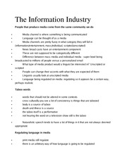 Ling 370 Ch 12 The Information Industry Outline