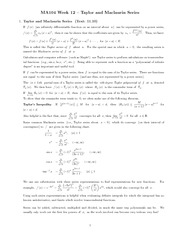 Chapter 11 - Taylor and Maclaurin series class notes