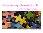 Lecture #6 - Organizing Information & Introduction