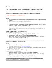 LBS Fall 2015, Case Presentation Assignments, Sect. 07.Sept. 23