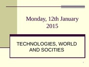 DIAPO 1 Monday 12 January 2015   Presentation of the course outline