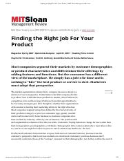 Finding the Right Job For Your Product - Christensen