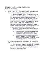 Lecture Notes Chapter 1 Introduction to Human Comm