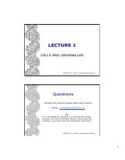Lecture 1 - Cells and Organelles