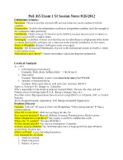 Poli 105 Exam 1 SI Session Notes 9-26-2012