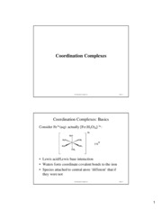 Coordination Complexes