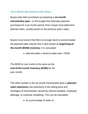 The 6 Month Merchandise Plan Notes