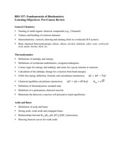 Pre-Course Review Learning Objectives