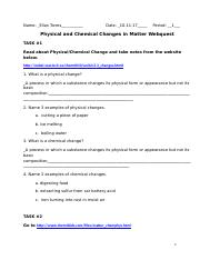 Phy And Chem Changes Webquest Docx