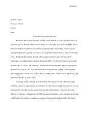 Research paper on borderline personality disorder