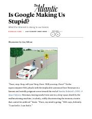"""carr essay is google making us stupid Is google making students stupid the author of the 2008 atlantic cover story """"is google making us stupid carr is quick to acknowledge that these."""