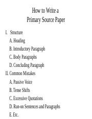 How to Write a Primary Source Paper
