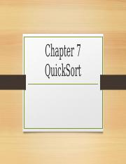 Chapter 7 QuickSort