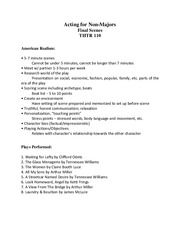 Acting Final - study guide and preparation notes