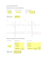 Inverses and Reciprocals Quiz Answer key