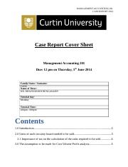 Management Accouting report