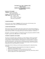 Managerial Economics Syllabus , Summer 2015 (1)