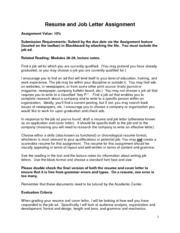 ENGL 3430 Resume and Job Letter Assignment