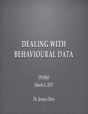 Lec 9 dealing w behavioural data